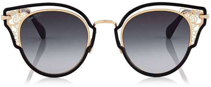 53adec4ff1cb7 Jimmy Choo DHELIA Black and Rose Gold Metal Sunglasses  JimmyChoo ...