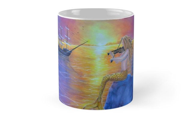 Coffee Mug, mermaid, colorful, purple, fantasy, home, kitchen, accessories,cool,beautiful,unique,artistic,unusual,for sale,design,gifts,presents,ideas, redbubble