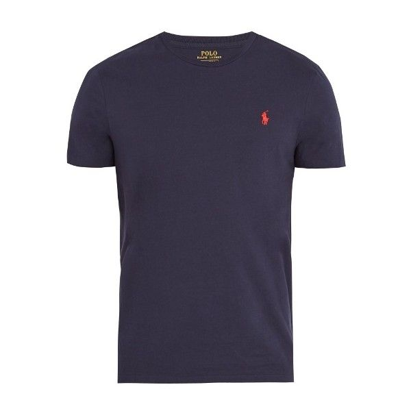 Polo Ralph Lauren Logo-embroidered cotton-jersey T-shirt ($60) ❤ liked on Polyvore featuring men's fashion, men's clothing, men's shirts, men's t-shirts, navy, old navy mens shirts, polo ralph lauren mens shirts, mens slim fit crew neck t shirts, mens navy blue shirt and mens navy blue t shirt