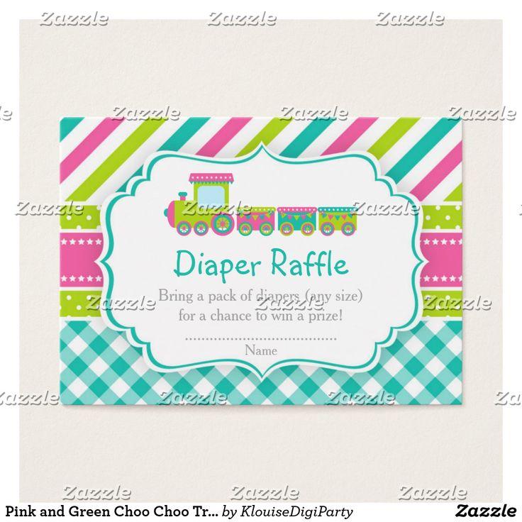Pink and Green Choo Choo Train Diaper Raffle Business Card
