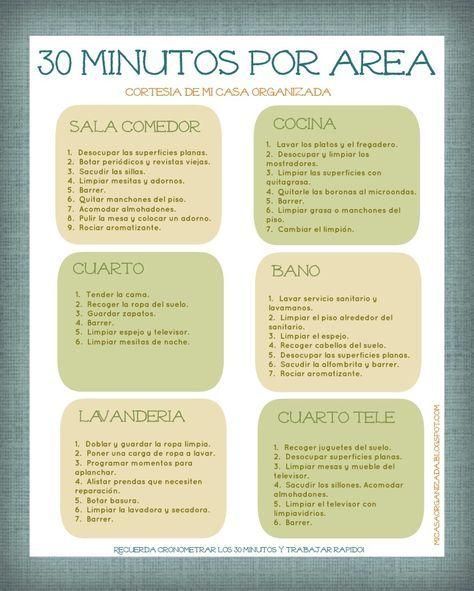 """Mi Casa Organizada: Imprimible: Lista de Tareas """"30 Minutos Por Área"""" …"""