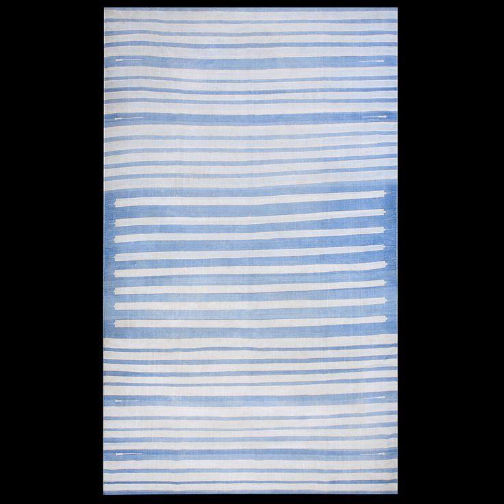 Dhurrie Rug - 21048 | Indian 8' 0'' x 13' 6'' | Blue, Origin India, Circa: 1940#antique #rug #studio #nyc #dhurrie