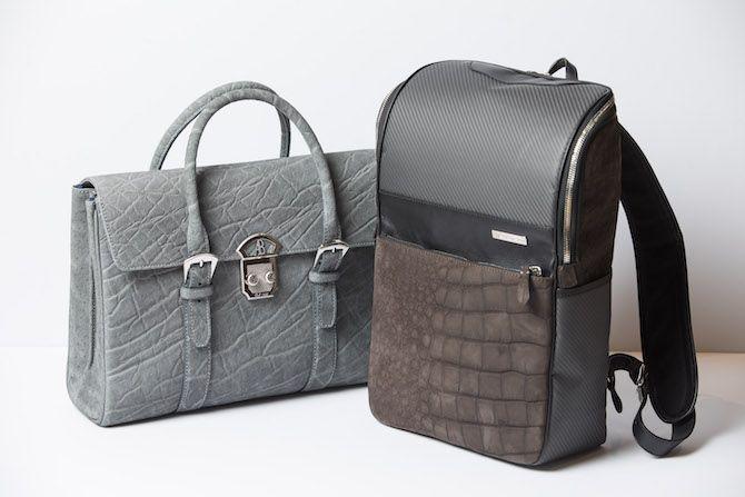 左:希少性が高いエレファント素材のバッグ。80万円(アルフレッド ベレッタ)、右:カーボンとクロコのヌバックを組み合わせたリュック。62万円(テクノモンスター/HIKO銀座店TEL.03-6264-4450 )