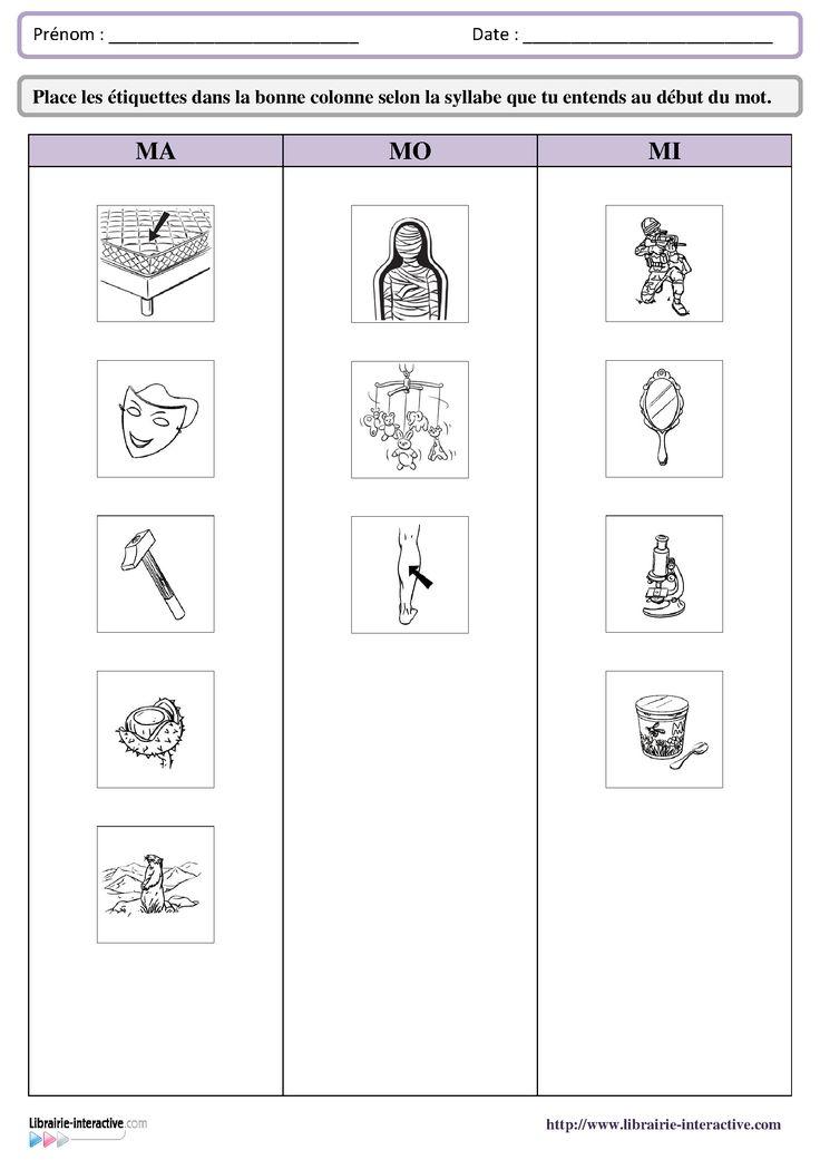 29 fiches d'exercices destinées aux élèves de GS et de CP pour apprendre à reconnaître les syllabes en début des mots.