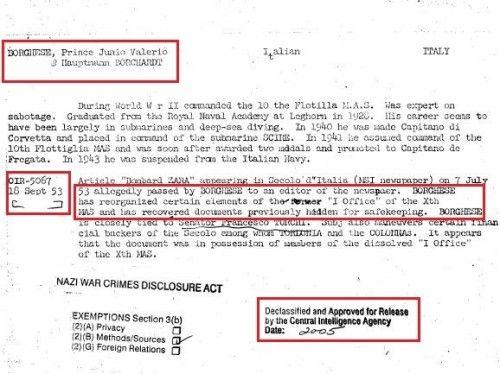 In un altro documenti secret (fig. 3 fonte CIA) della CIA si scrive che Borghese nel 1950 si recò in Argentina a Buenos Aires, ufficialmente...