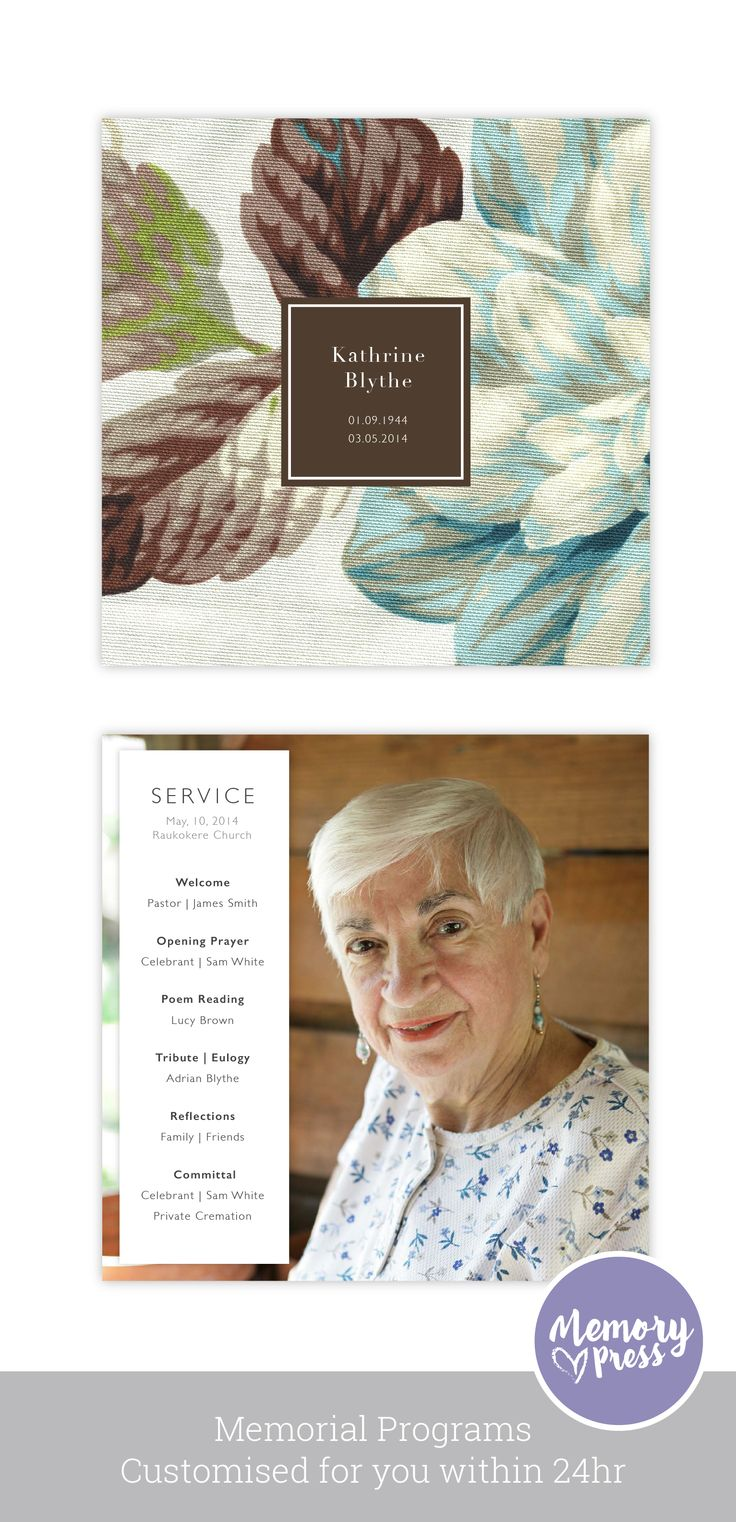 Begonia funeral program template, Customised by a professional Graphic Designer for only $99.90. Designed by Memory Press, available at memorypress.co