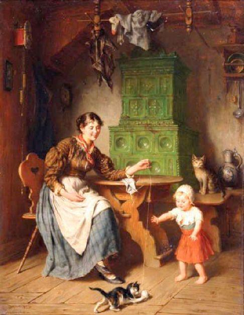 Εσωτερικό σπιτιού, με μητέρα, παιδί και γατάκια