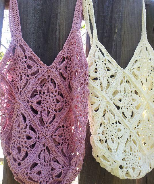 Freesia bags - moda vera jalap - lace crochet tote or market bag ༺✿ƬⱤღ  https://www.pinterest.com/teretegui/✿༻