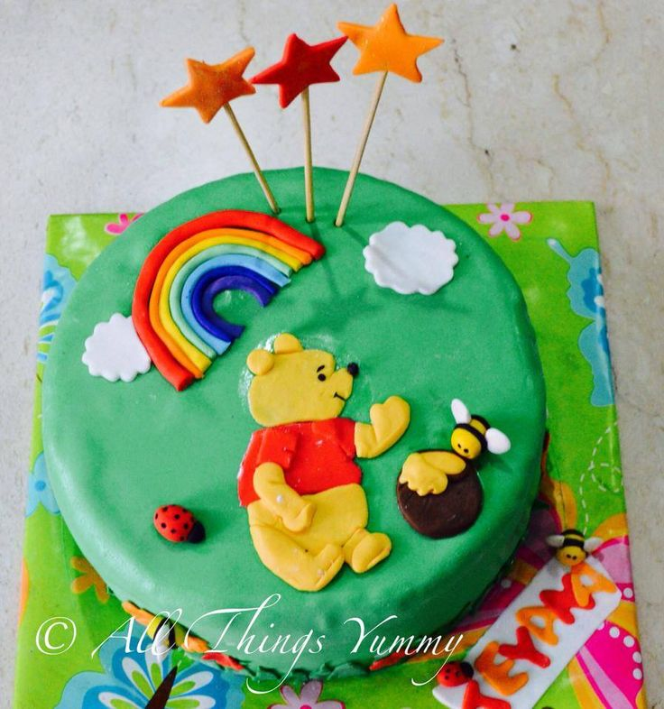 Pooh is back to visit All Things yummy... #pooh #winnie #winniethepooh #honeybee #rainbow #ladybug #stars #atyummy #clouds #disney
