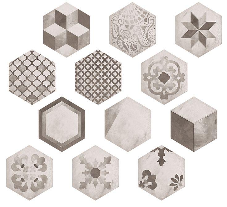Nyhet Terra hexagon mix dekor svart/grå matt 21,6x25 nu på kampanj! #kakel