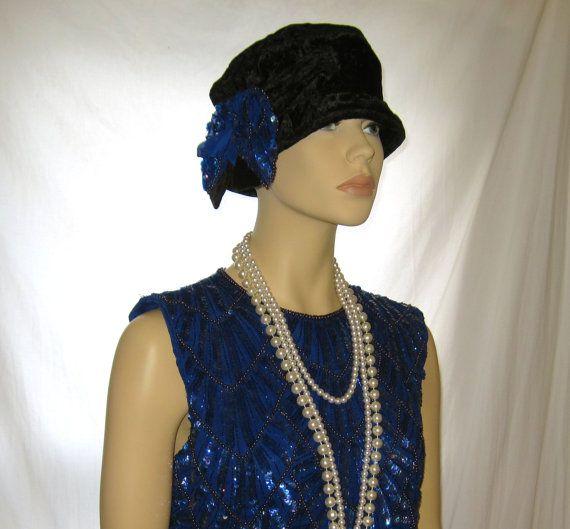 Vintage black velvet women's winter hat, flapper dress hat, ladies great gatsby accessories, 1920s flapper hat, womens gatsby accessory hat by 777DressCode, $34.99