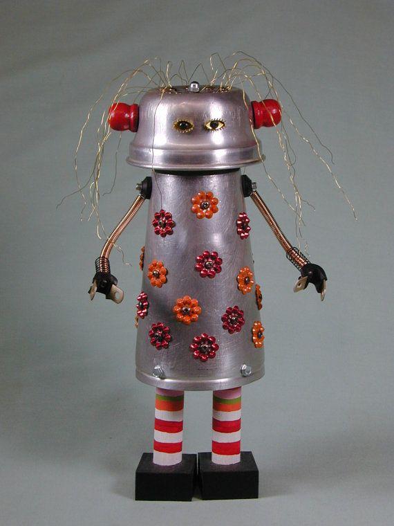 ELLEWYN Found Object  Robot Sculpture Assemblage
