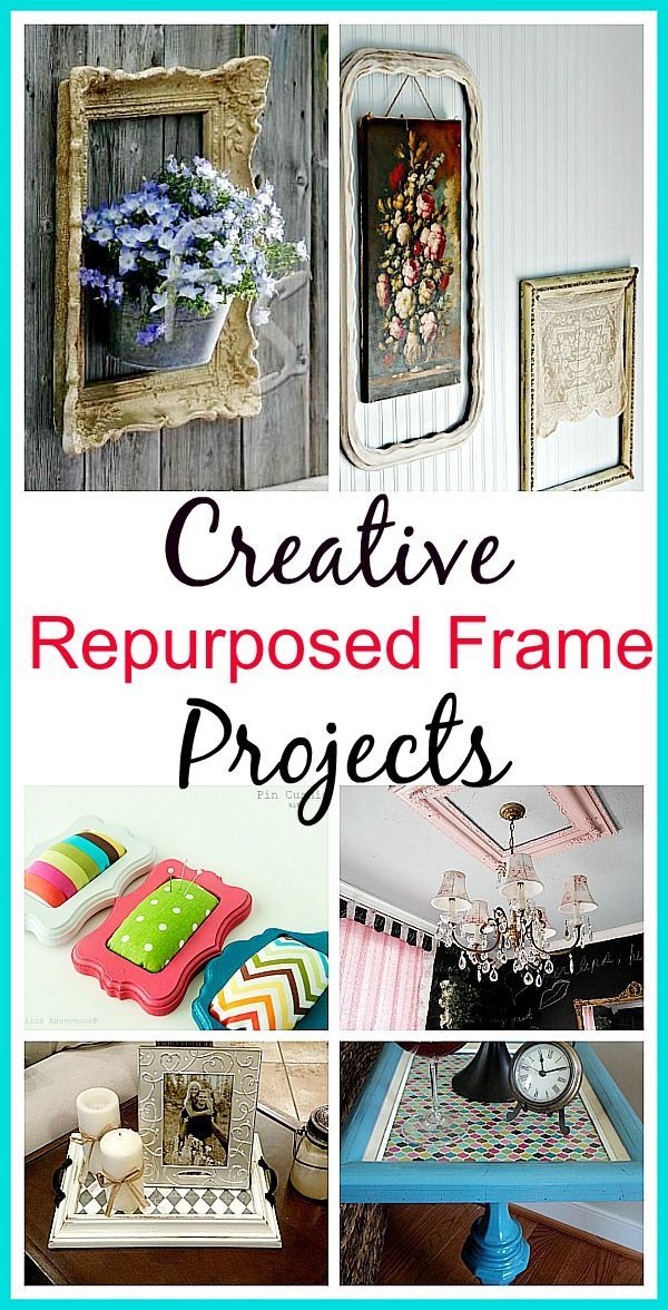 I'm always picking up interesting frames at the thrift store. Sometimes I just like the frame and not the picture. So what can you do with a picture frame? Here are 10 creative repurposed picture frame ideas. DIY home decor projects, upcycle projects, easy crafts, decorating with frames.