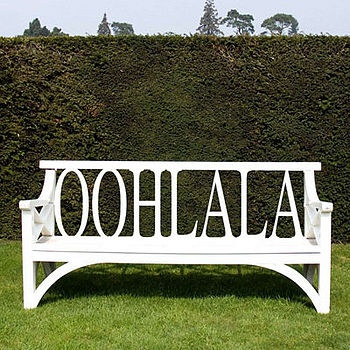 GIMMIE THIS!!!Gardens Ideas, Wooden Benches, With, Ooh La, Alice In Wonderland, Gardens Furniture, Outdoor Benches, Backyards, Gardens Benches