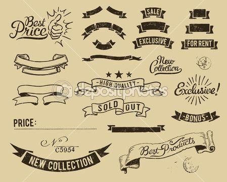 conjunto de iconos de venta Vintage — Ilustración de stock #6750447