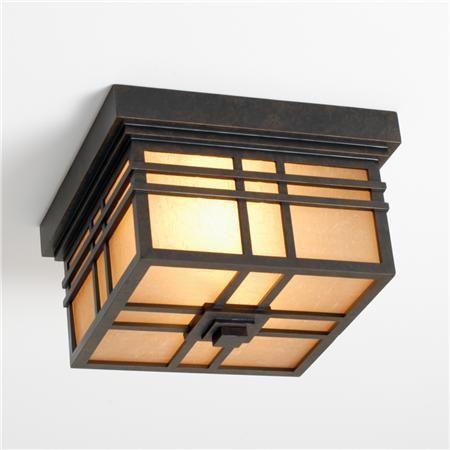Energy Star Bronze Craftsman Mission Indoor-Outdoor Ceiling Light