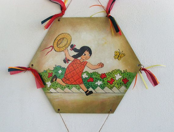 Little Girl Chasing Butterflies  Wooden Kite by allabouthandicraft