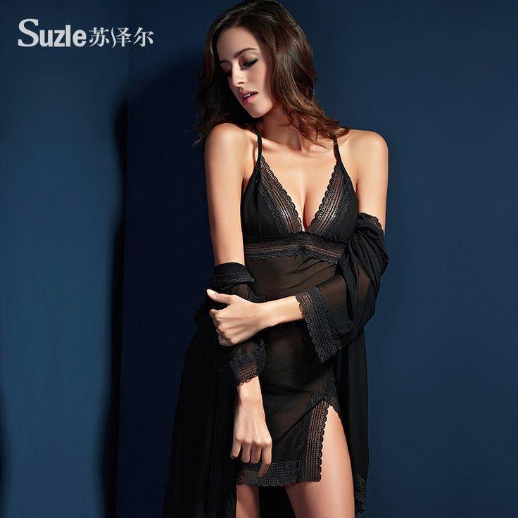 Ispită feminin pijamale sexy transparent Suze Er Shi Leisi la sling Lenjerie rochie V-gât trei piese de lenjerie sexy
