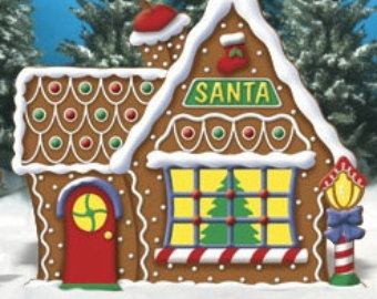 Christmas Santa's Gingerbread House Wood Outdoor Village Piece, Yard Art, Lawn Decoration, Christmas Outdoor Decor