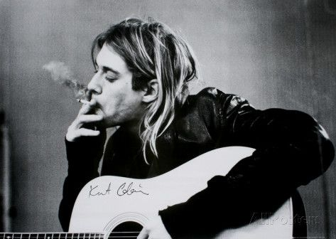 Kurt Cobain (Smoking) With Guitar Black & White Music Poster Print at AllPosters.com
