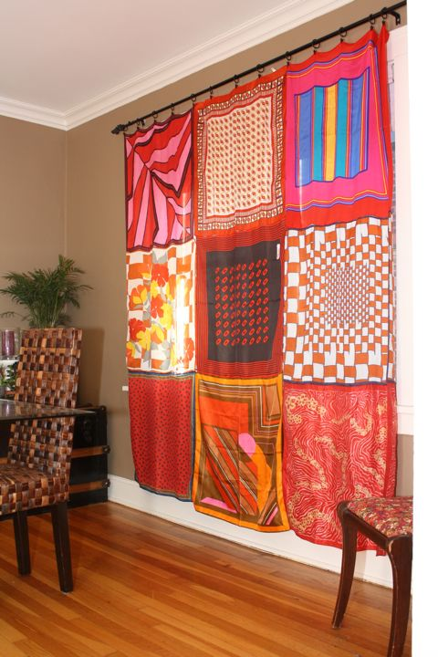 spice up your space - DIY scarf curtains - you can pick them up at the dollar store!! easy easy easy tutorial