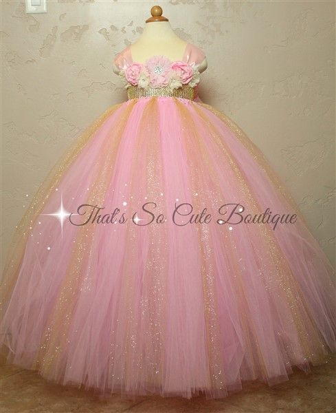 Pink and Gold Flower Girl Tutu Dress-pink, gold, strawberry, flower girl, birthday, tutu dress, bling, cream, ivory, yellow