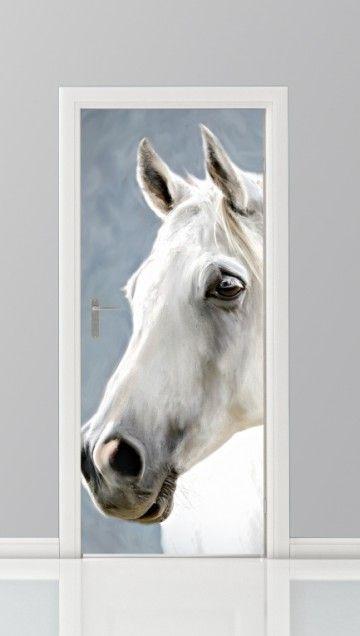 Een deursticker met een paard erop. In diverse formaten verkrijgbaar, dus passend voor iedere deur.