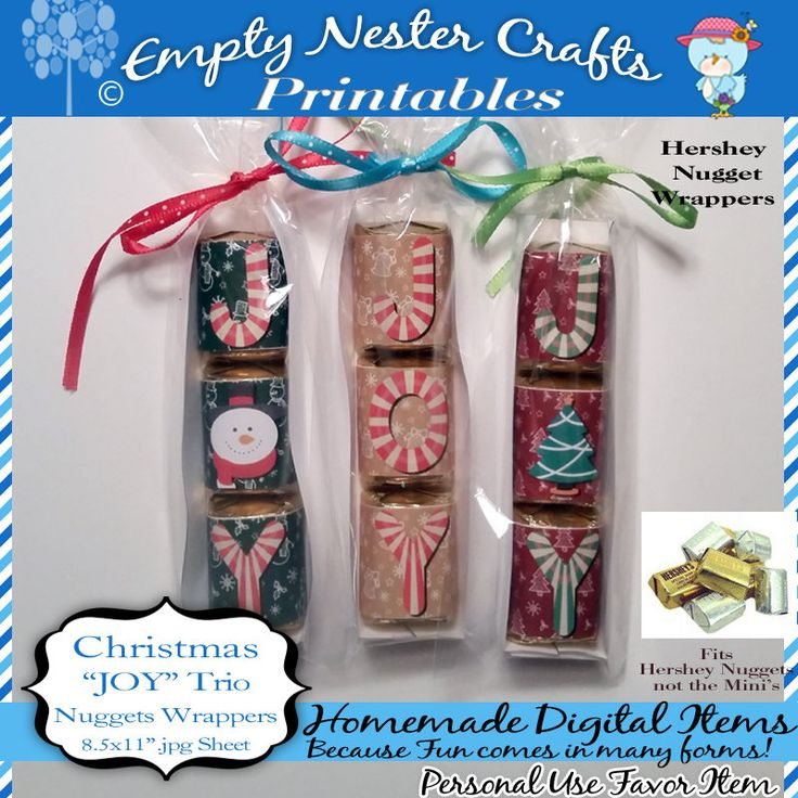 Hershey Nuggets Candy Wrapper, Christmas - JOY trio, party favor,printable, download, personal use only by EmptyNesterCrafts on Etsy