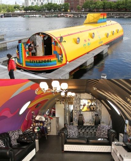 Yellow Submarine Hotel, England. A neat little hotel on water with a trippy interior.