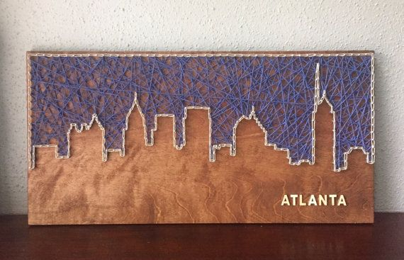 Custom 12 x 24 inch Skyline String Art - with or without wooden lettering Not your city? No problem - just let us know what city you would like.  Please indicate choices for: - stain color - string color(s) - font (if applicable)  Possibilities are endless, please feel free to contact us to help create the perfect item for you. Dont see the perfect color, send us a message, we might be able to help!  Items pictured: -Skyline Fill in Navy, Outline in Natural, Provincial Stain, Lettering Font…