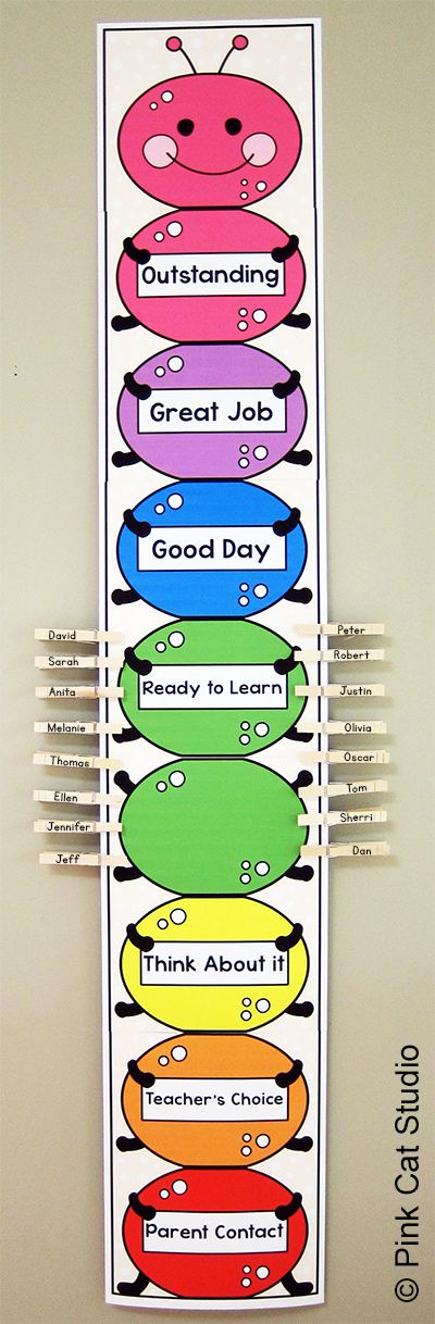 Manage student behavior with this completely editable caterpillar behavior clip chart! You can change the color of the caterpillar sections, the background paper color and the text to meet your exact needs. By Pink Cat Studio