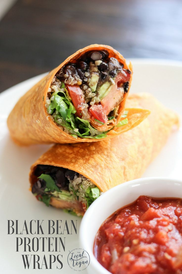 Black Bean Protein Wraps - Healthy #Vegan Dinner / Lunch / Snack Recipes - #plantbased #cleaneating