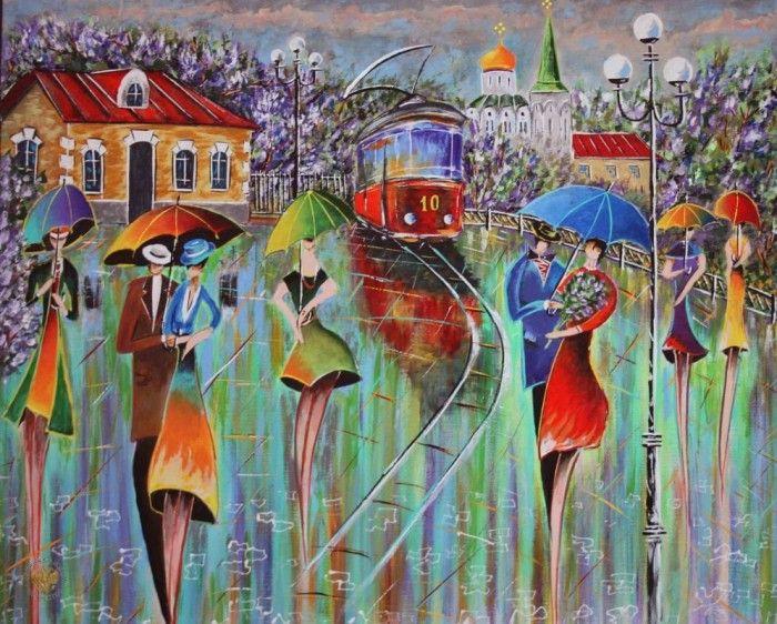 Танец дождя и зонтиков. Художник Николай Пахомов. Пейзажи с дождём
