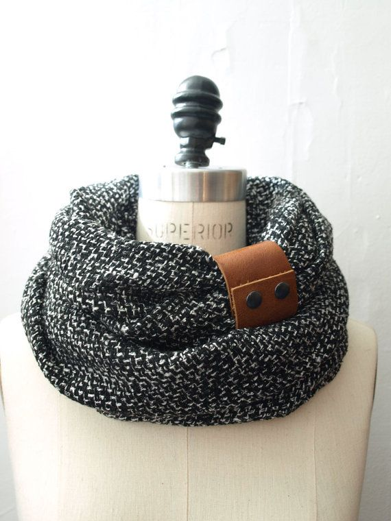 Ultra Chunky  Black circular infinity scarf with camel leather cuff on Etsy, $50.00