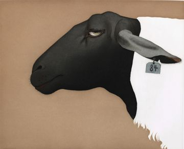 Sulfolk Sheep, 1986 aquatint and drypoint, hand-colored with watercolor - Beth Van Hoesen