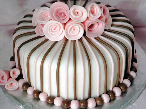 All sizes | Pink and Brown Fondant Cake | very pretty cake! Description from pinterest.com. I searched for this on bing.com/images
