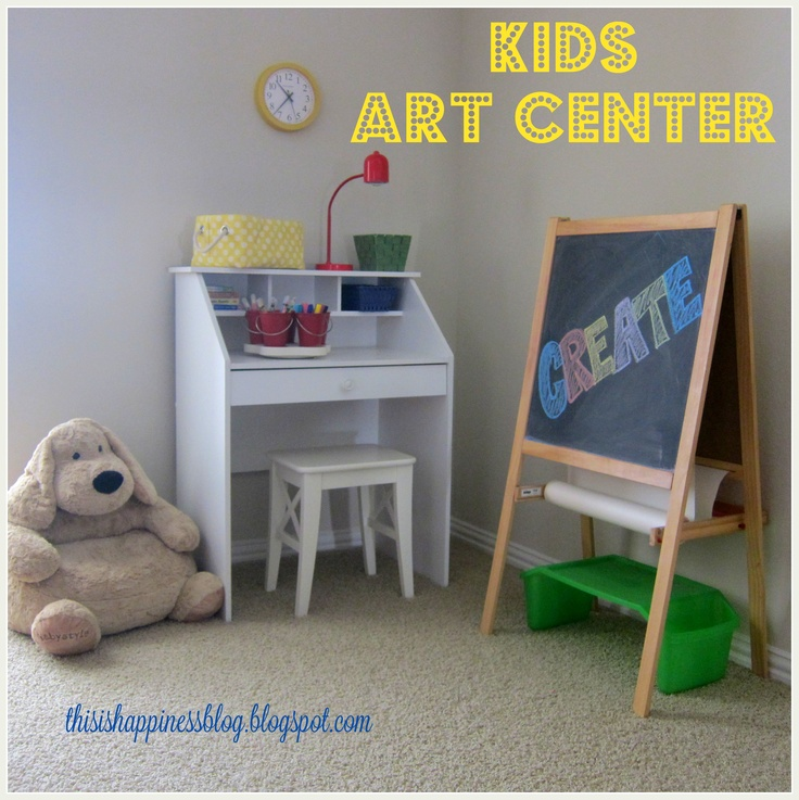 organized kids art center in our playroom {ikea chalkboard & walmart desk}