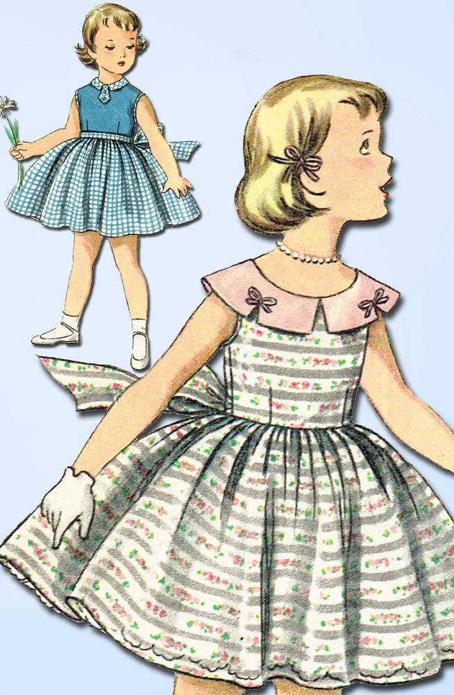 1950s Vintage Simplicity Sewing Pattern 1108 Easy Toddler Girls Dress Size 4 23B #Simplicity #DressPattern