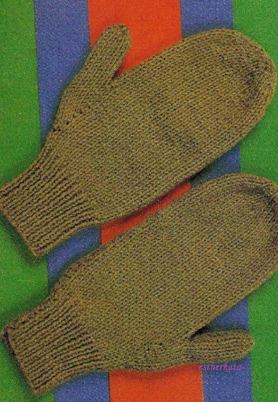 VINTAGE knitting pattern pdf, pair of mittens worked on two needles, INSTANT ...