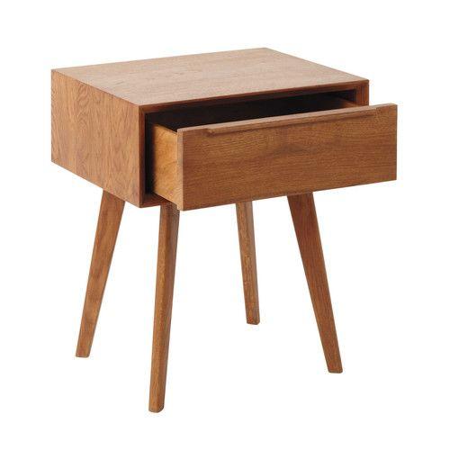 Solid oak vintage bedside table with drawer W 45cm