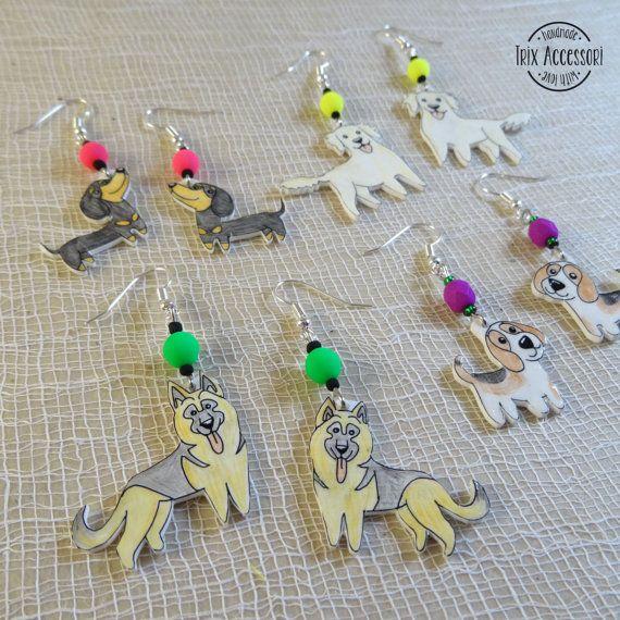 Orecchini disegnati a mano con varie razze di cani- bassotto pastore tedesco golden retriever beagle