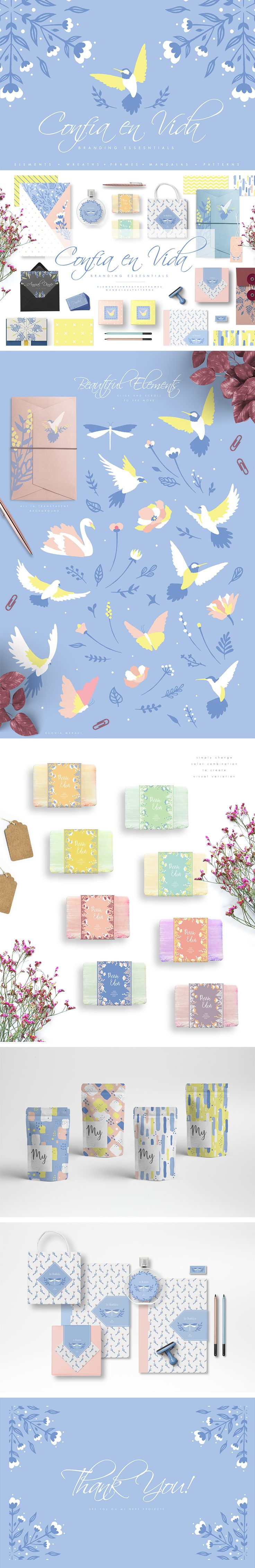Introducing 'Confia en Vida', a branding essential kit that created to help designers develope their design professionally. Simply combine elements with frames, patterns or other items and create beautiful design which can be used as branding/letter set, stationery, wedding invitations and so much more!