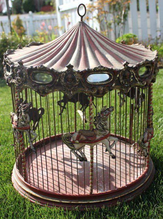 Awesome carousel birdcage from fishtail cottageFancy Birdcages, Birds Cages,  Carrousel,  Merry-Go-Round, Fishtail Cottages, Birds House, Awesome Carousels, Birdcages Birdhouses, Carousels Birdcages