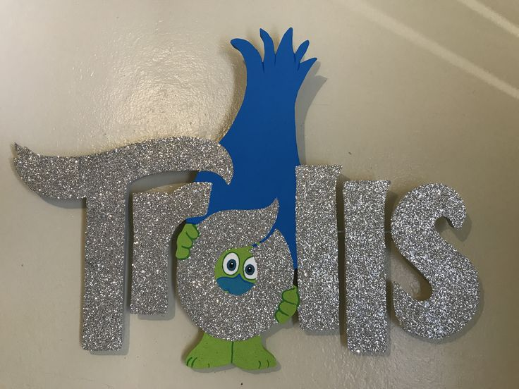 Trolls logo in foam