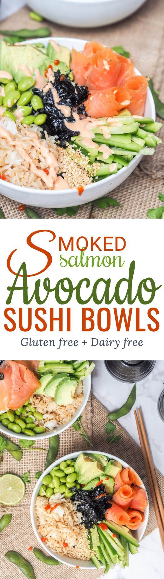 Sushi bowl with smoked salmon, avocado, cucumbers, edamame and rice makes for the perfect Japanese themed meal that is ready in under 30 minutes. All the flavors of a sushi roll but none of the fuss. Gluten Free and Dairy Free too.