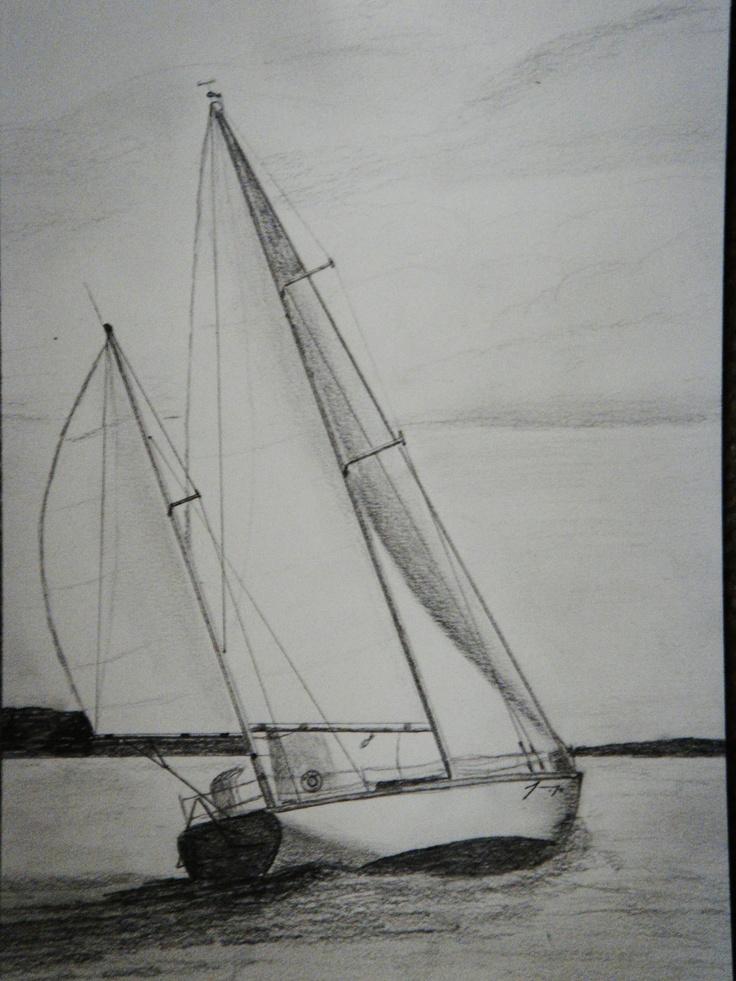 Sailboat  Group of 5 Original Pencil Drawings - ON SALE. $320.00, via Etsy.