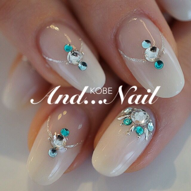 #nailbook nude blue little bling so pretty