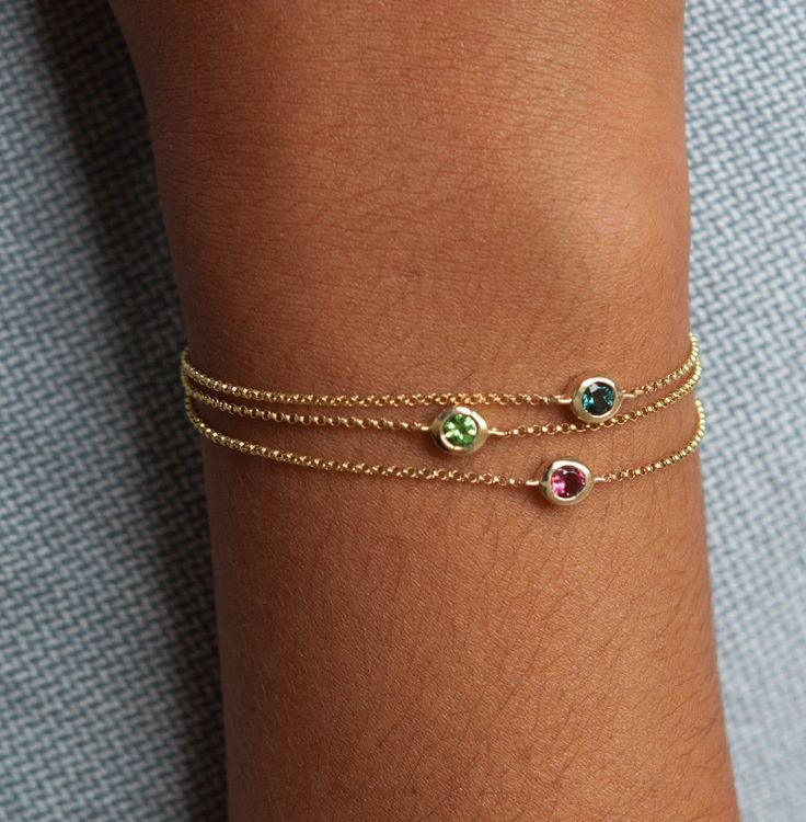 14k gold gemstone bracelets by Vivien Frank Designs