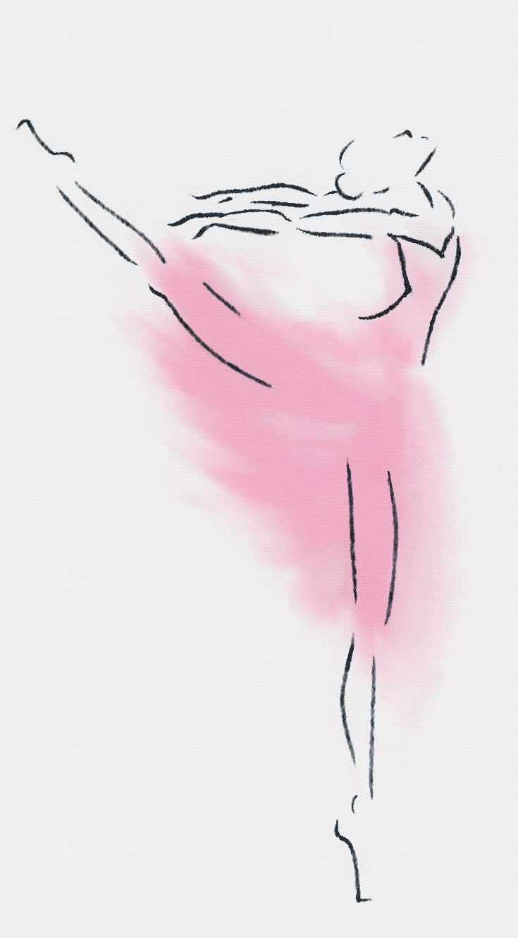 Ballerina Watercolor and Pencil