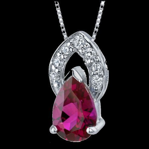 Red Ruby Pear Cut Cubic Zirconia Halo Sterling Silver Pendant